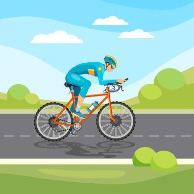 Cycle racing man rides a bicycle vector