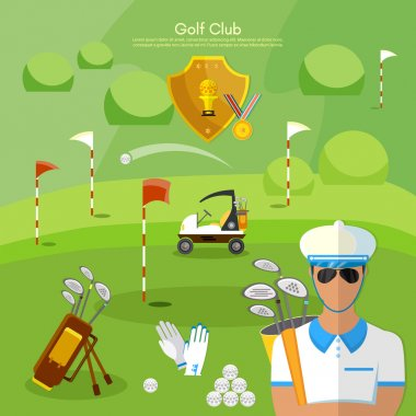 Golf club sports golfing elements vector