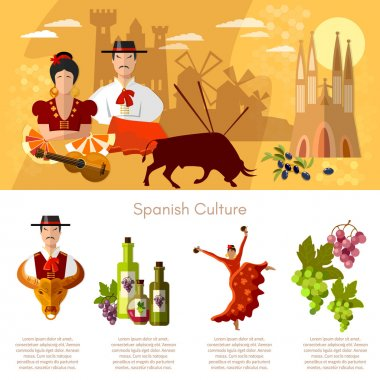 Spain infographics traditions and culture spanish attractions