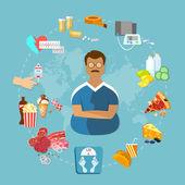 Sovrappeso e obesità infographic uomo grasso