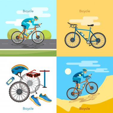Cycling active lifestyle sport set bicycle riders
