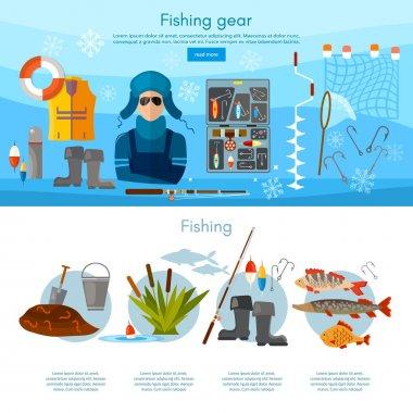 Winter fishing infographics fishing rod