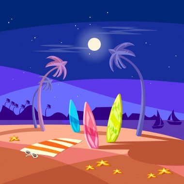 Summer holiday night beach scene vector cartoon