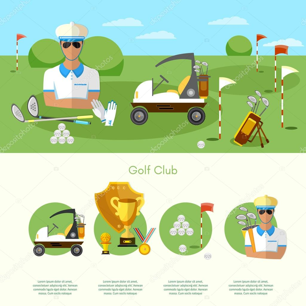 Golf infographic elements banners elite golf club