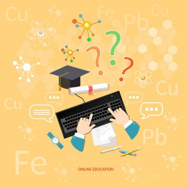 Online education distance learning learn chemistry lesson concept