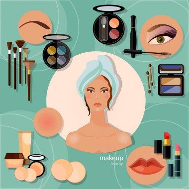Professional make-up beautiful woman face