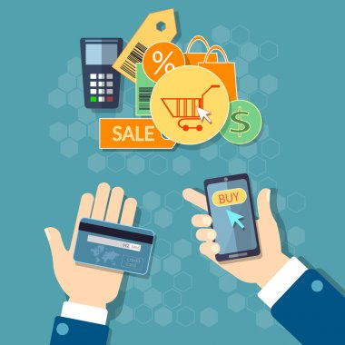 Online shopping e-commerce concept