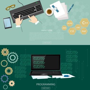 Programming process man writing programming code