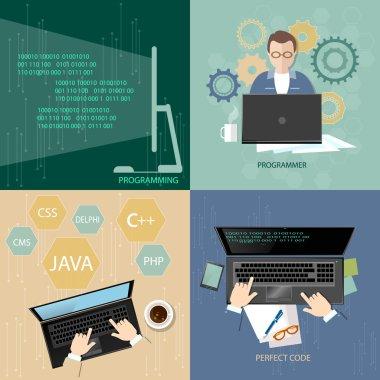 Programming concept process coding teamwork desktop programmers