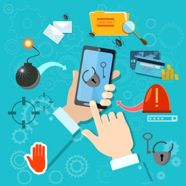 Hacking mobile smartphone in hand