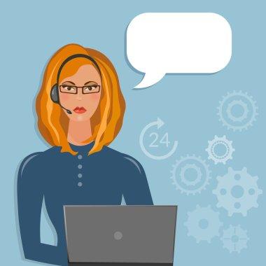 Call center female support operator speech bubble