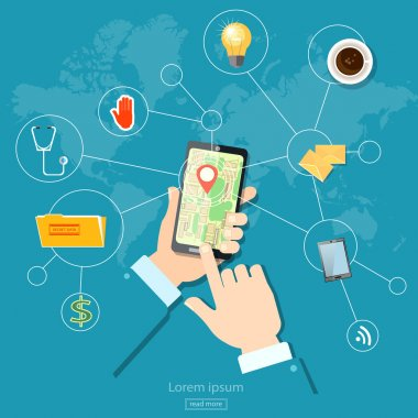 Geolocation gps navigation address and location touch screen mobile stock vector