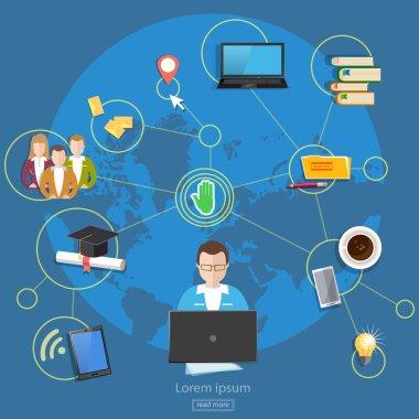 Social networks teamwork people management online education stud
