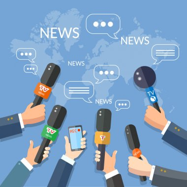 World live news report press concept hands of journalists