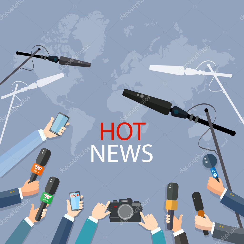 Hands of journalists with microphones