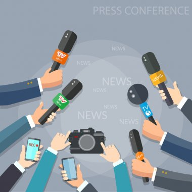 Journalists with microphones concept