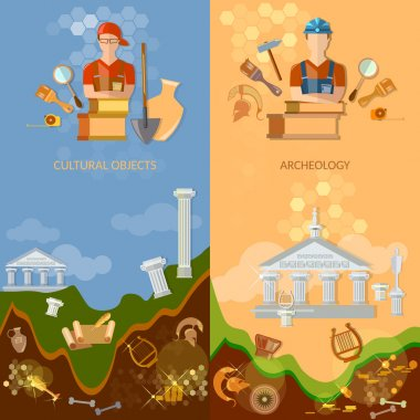Archeology banners cultural objects treasure hunters