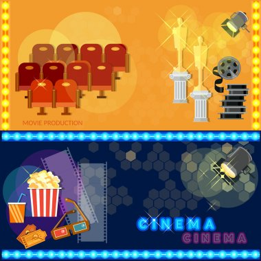 Cinema festival movie poster template tickets popcorn soda filmstrip awards concept banners stock vector