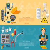 Fotografie Professional electrician with electricity tools flat banner