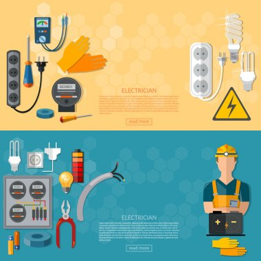 Professional electrician with electricity tools flat banner