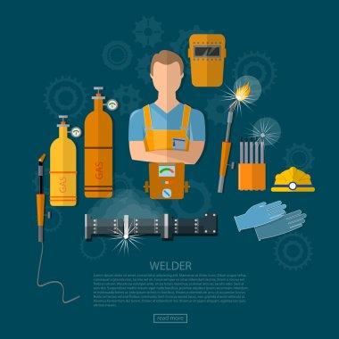 Professional welder welding tools and equipment