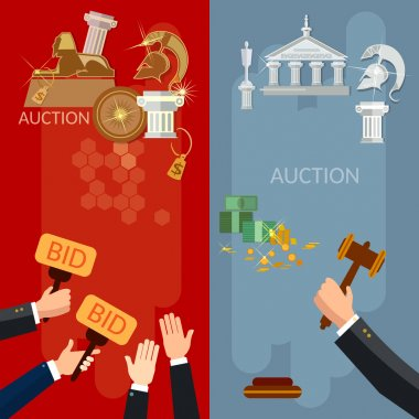 Auction vertical banners selling antiques and real estate vector