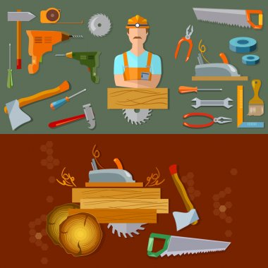 Professional workspace carpenter tools flat vector illustration