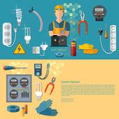 Professzionális elektromos elektromos ember a sárga kemény bannerek