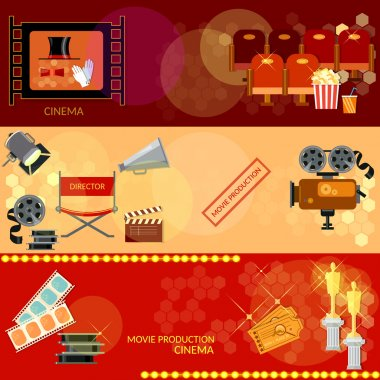 Cinema festival movie design elements clapper popcorn awards ceremony banners stock vector