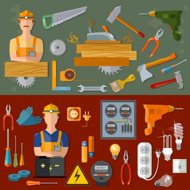Professional carpenter and professional electrician banners