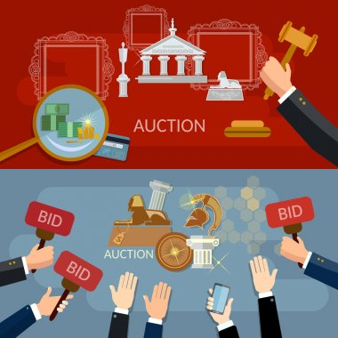 Auction and bidding banners selling antiques vector illustration