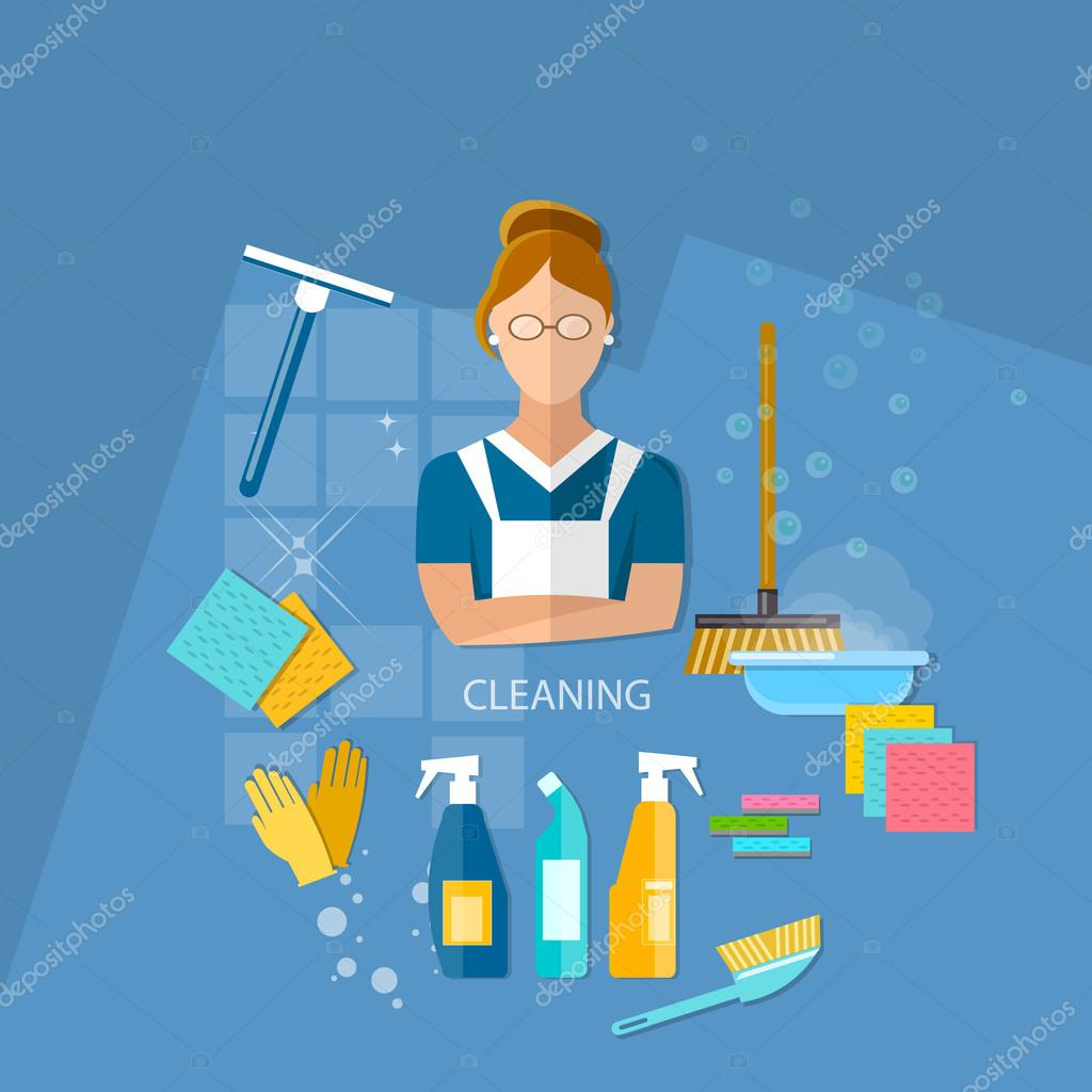Cleaning service maid house cleaning vector illustration