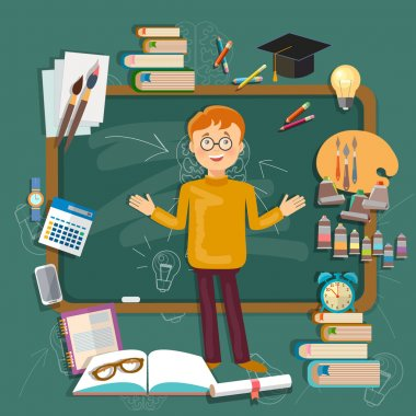 Back to school student education subjects schoolboy blackboards