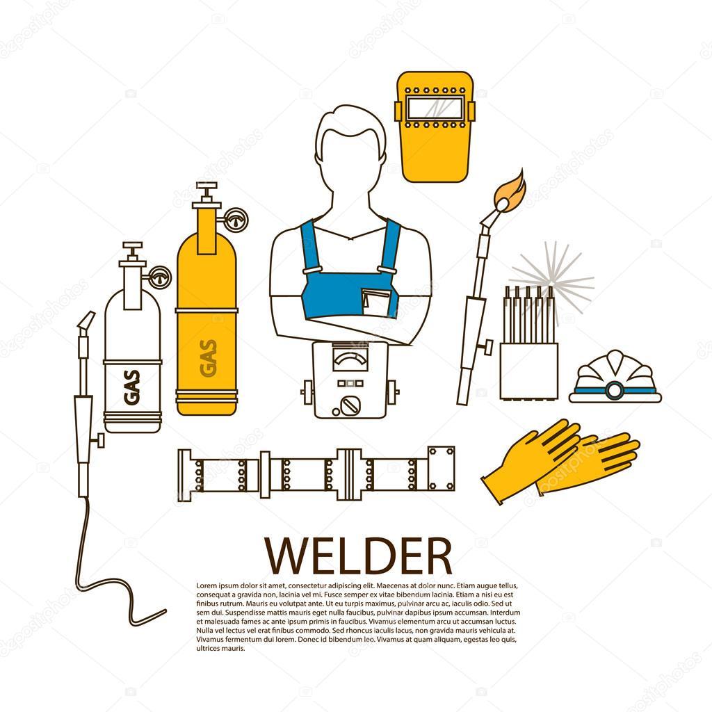 Professional welder welding tools and equipment silhouette ...
