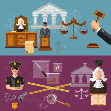System of justice banner courtroom the defendant