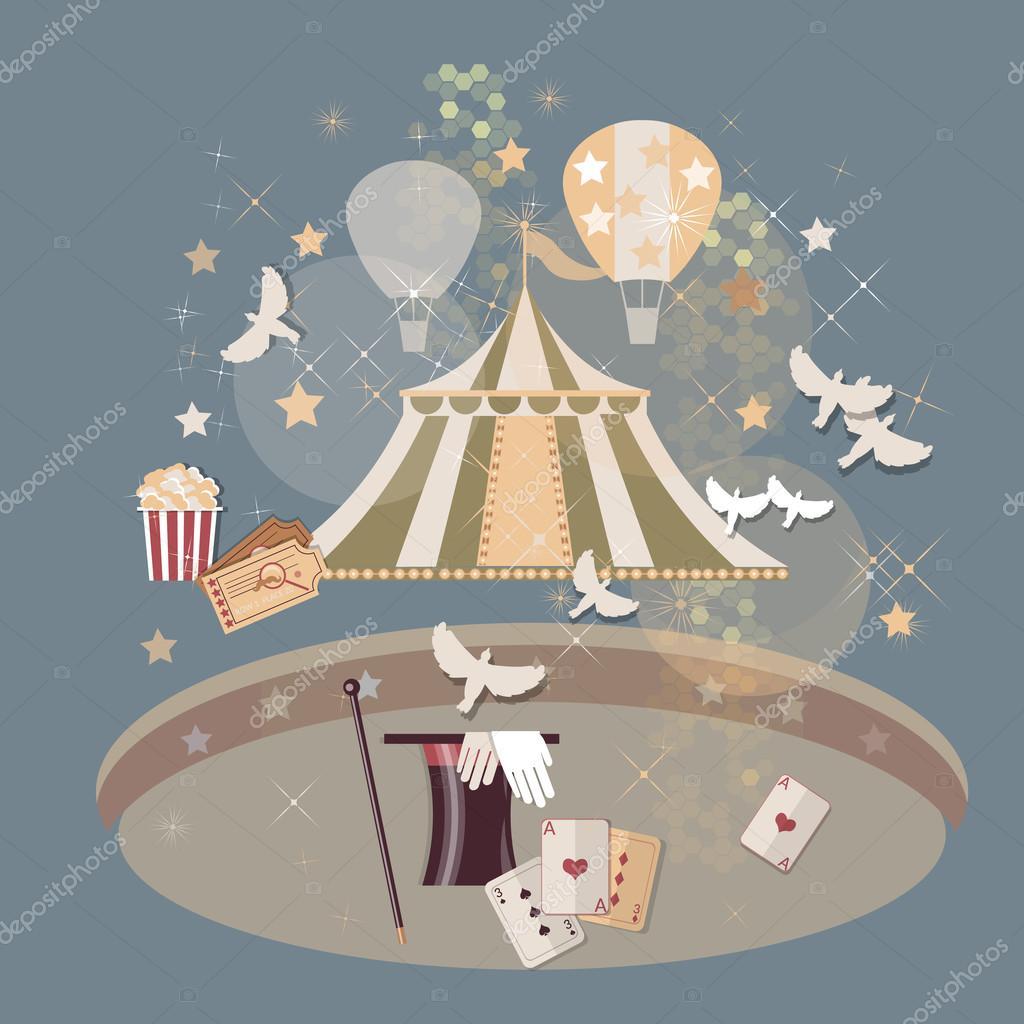 Circus arena tickets magic tricks vintage — Stock Vector