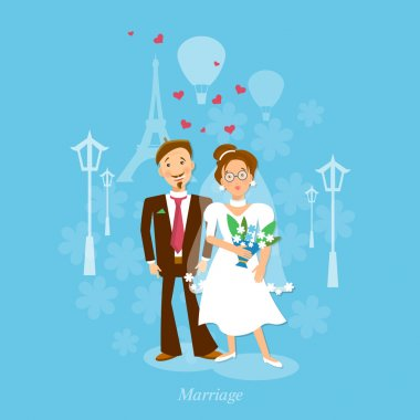 Lovers in Paris: wedding bride and groom vector illustration clip art vector