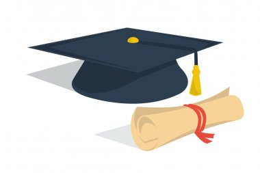Student hat and diploma roll