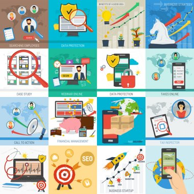 Sixteen vector business concept
