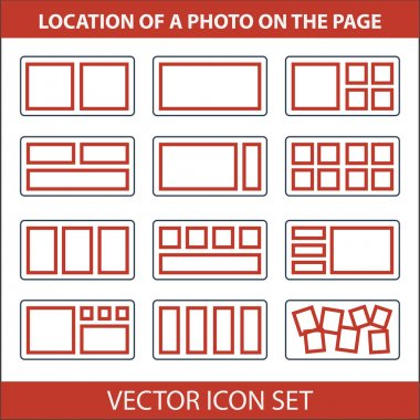 Icon set of location photos on page photobook