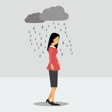 Depressed woman under the rain
