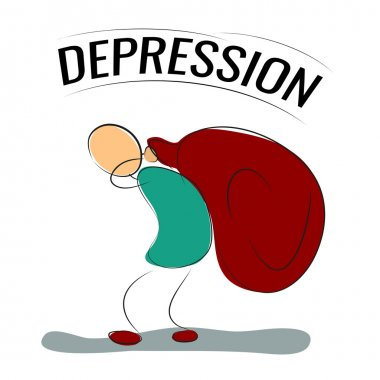 Man or woman bears a bag depression