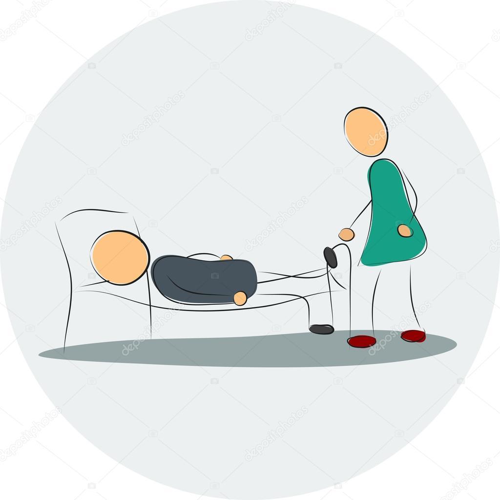 Frau In Der Nähe Von Deprimiert Mann Im Bett Stockvektor