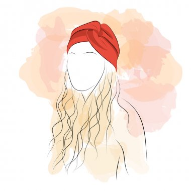 Silhouette woman with hair turban