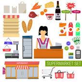 Fényképek Vektor szupermarket lapos ikonok beállítása