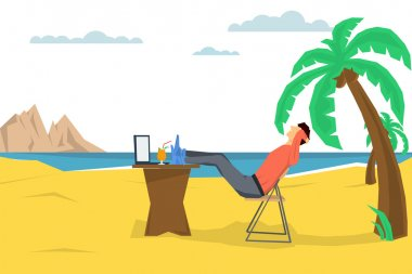 man freelancer on the beach