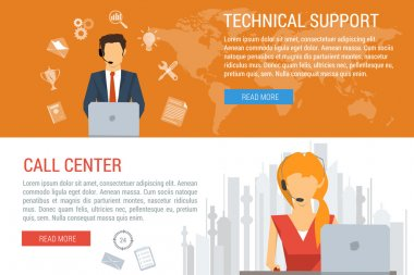 Two banners technical support flat style
