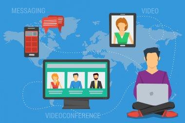 Concept of Internet communication around a world