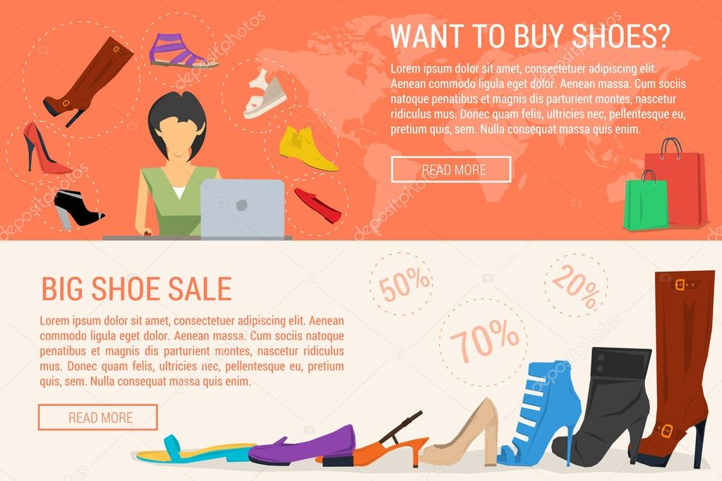 652ae5d139 Dois banners de venda online de compras e mulher sapato — Vetores de Stock
