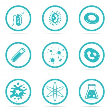 Icon Set Helpful and harmful cells bacteria